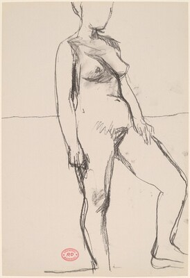 Untitled [standing female nude with left foot raised]