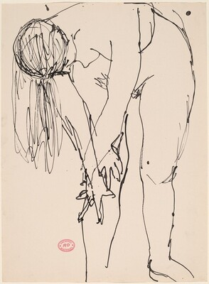 Untitled [female nude bending over and holding right knee]