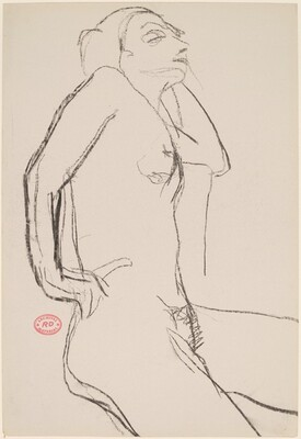 Untitled [nude with her right hand on hip and left arm resting on a support]