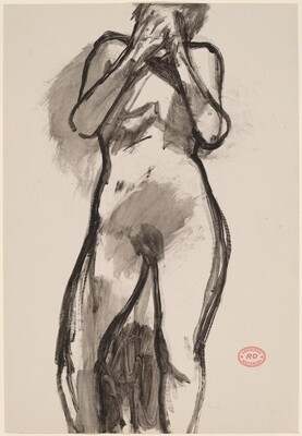 Untitled [standing female nude with hands over face]