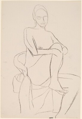 Untitled [seated female nude with leg pulled into chair] [recto]