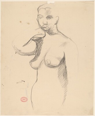 Untitled [standing female nude with raised right arm]