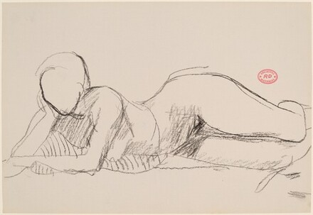 Untitled [female nude reclining on right side]