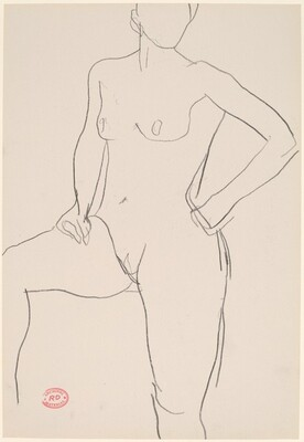 Untitled [standing female nude with raised right leg]