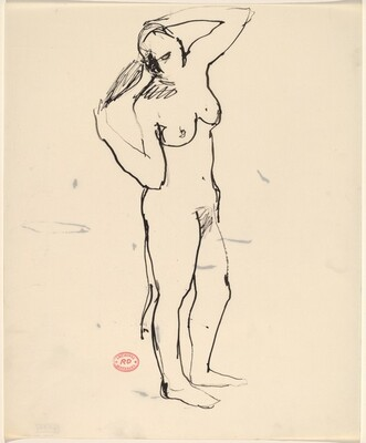 Untitled [standing female nude pulling back her hair]