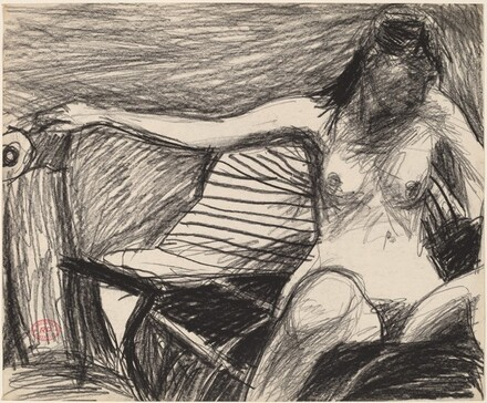 Untitled [seated nude extending her right arm]