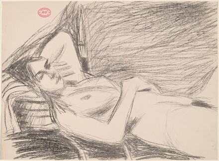 Untitled [side view of a reclining female nude]