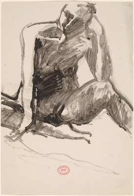 Untitled [seated nude with left elbow on knee]