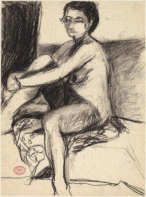Untitled [female nude seated on a patterned fabric]