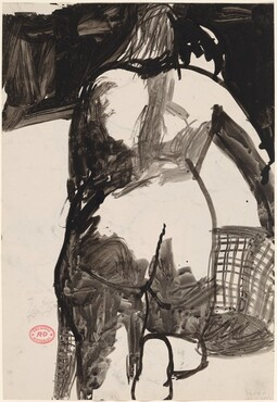 Untitled [back view of a female nude holding a basket] [recto]