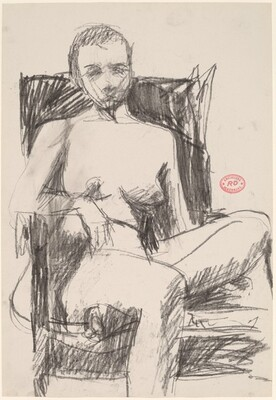 Untitled [female nude in a dark armchair]