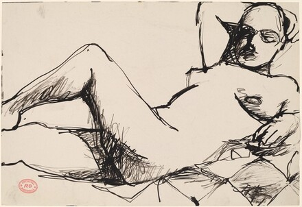 Untitled [female nude reclining on a checkered blanket]