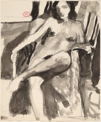 Untitled [seated female nude in a partially draped armchair]
