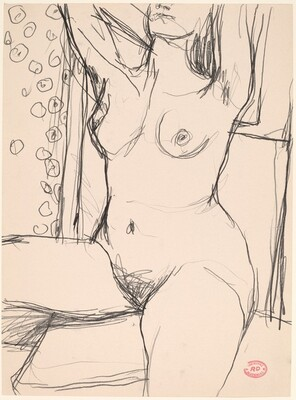 Untitled [nose-to-knee view of a seated nude with her arms raised]