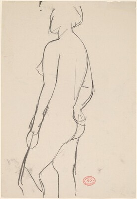 Untitled [side view of a nude with her right arm behind her]