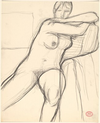Untitled [seated nude leaning her arms on a cushion]