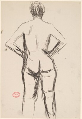 Untitled [rear view of standing nude with her hands at her hips]