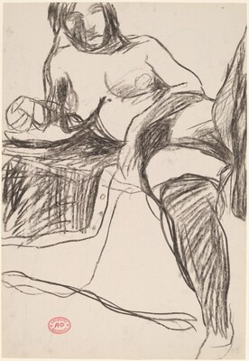 Untitled [reclining nude in stockings leaning on her right arm] [recto]