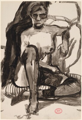 Untitled [female nude in stockings seated on a striped cushion]