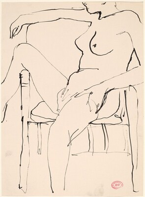 Untitled [seated nude draping her right leg over a chair arm]