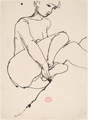 Untitled [seated model holding her right foot]