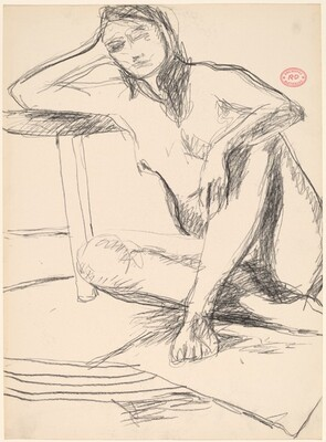 Untitled [seated model leaning with her right arm on a stool]