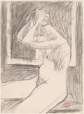 Untitled [woman arranging her hair before a frame]
