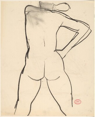 Untitled [rear view of female nude with right hand on hip]