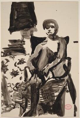 Untitled [seated nude adjusting her black stocking]