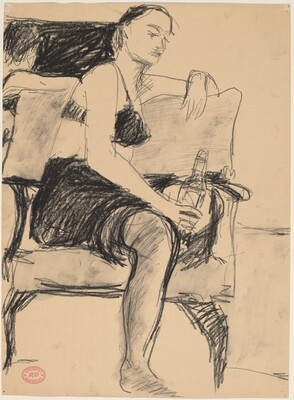 Untitled [seated woman with bottle]