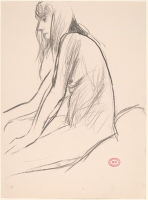 Untitled [side view of seated female nude with long hair]