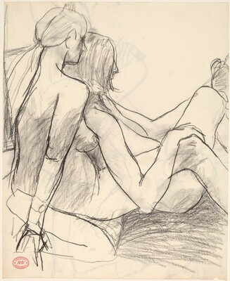 Untitled [looking over the shoulder of two female nudes] [recto]