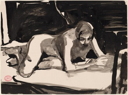 Untitled [female nude resting on her forearms]