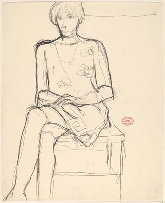 Untitled [seated woman in a patterned dress]