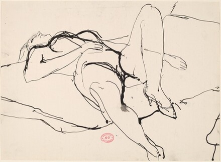 Untitled [reclining female nude in high heels]