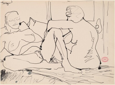 Untitled [female nude resting her arm on another's knee]