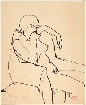 Untitled [seated female nude resting in an armchair]