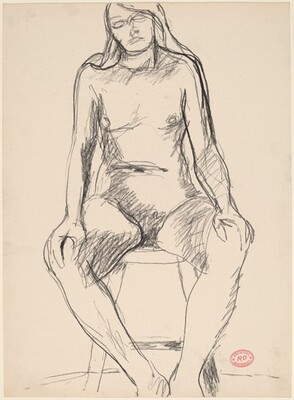 Untitled [female nude with long hair seated on a stool]