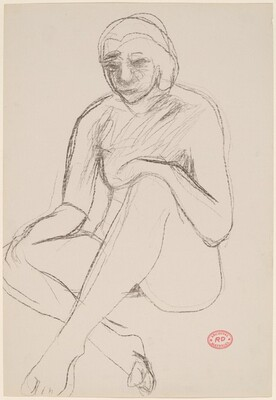 Untitled [seated nude resting her hands on her knees]