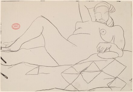 Untitled [reclining female nude on a quilt]