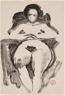 Untitled [nude seated with her arms on chair armrests]