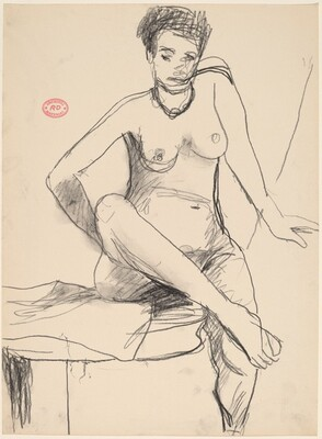 Untitled [seated nude wearing a necklace]