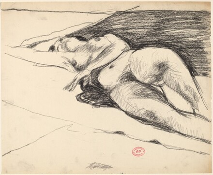 Untitled [reclining nude stretching our her left arm]