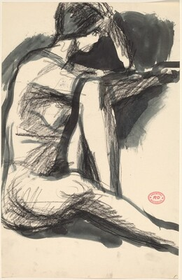 Untitled [seated nude facing to her left]
