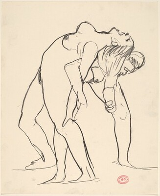 Untitled [one female nude leaning back on another female nude]