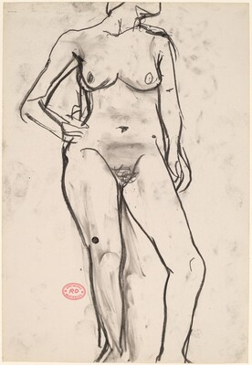 Untitled [standing female nude with right hand on hip] [recto]