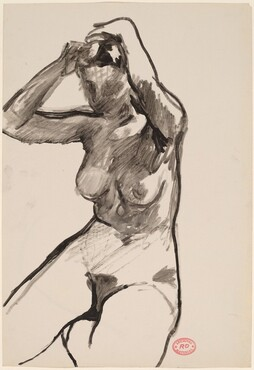 Untitled [seated nude adjusting her hair] [recto]