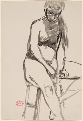 Untitled [female nude seated on a stool and looking down]