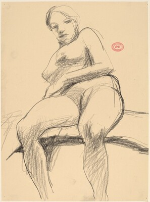 Untitled [seated female nude leaning back]