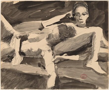 Untitled [reclining nude resting her head on a seated nude]